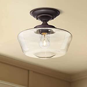 "Schoolhouse Floating Modern Ceiling Light Semi Flush Mount Fixture Oil Rubbed Bronze 12"" Wide Clear Glass for Bedroom Kitchen Living Room Hallway Bathroom - Regency Hill"