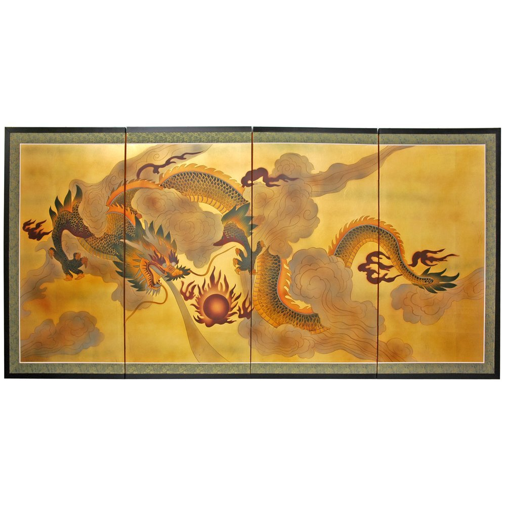 Oriental Furniture 36'' Dragon in the Sky on Gold Leaf