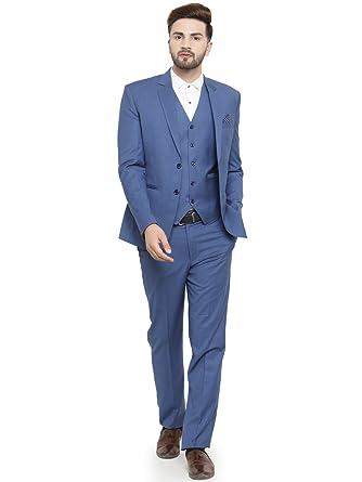 LUXURAZI Persian Blue Men\u0027s Business 3 Piece Suit