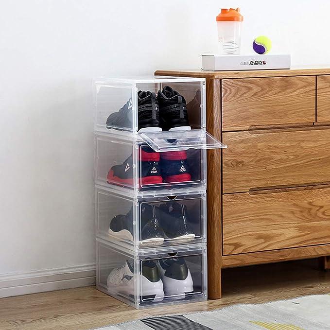 Durable PP Plastic Shoe Storage Boot Box Stackable Case Organizer Transparent
