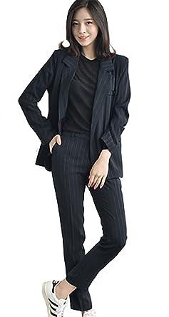 2701c841151 パンツ スーツ レディース セットアップ 上下セット 春 夏 秋 ストライプ 黒 ブラック Le ciel clair (