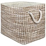 """DII Oversize Woven Paper Storage Basket or Bin, Collapsible & Convenient Home Organization Solution for Office, Bedroom, Closet, Toys, Laundry(Medium - 15x10x12""""), Stone Tweed"""