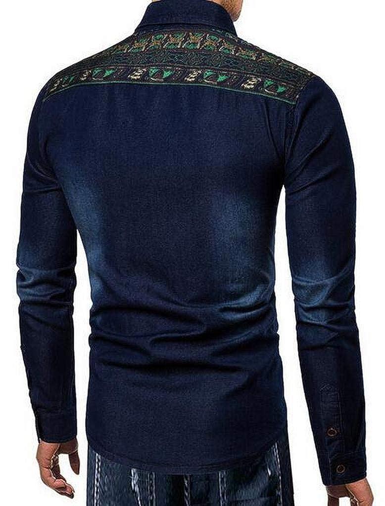 Suncolor8 Mens Embroidery Cotton Long Sleeve Button Down Denim Slim Fit Dress Shirts