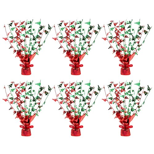 Juvale 6-Pack of Christmas Centerpieces - Artificial Christmas Decor, Balloon Weight Christmas Decorations for Home, Office Tables, Red - 13.5 x 2.3 x 1.7 Inches