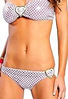 Fishnet Effect Bikini With Heart Badges (8/10, Pink)
