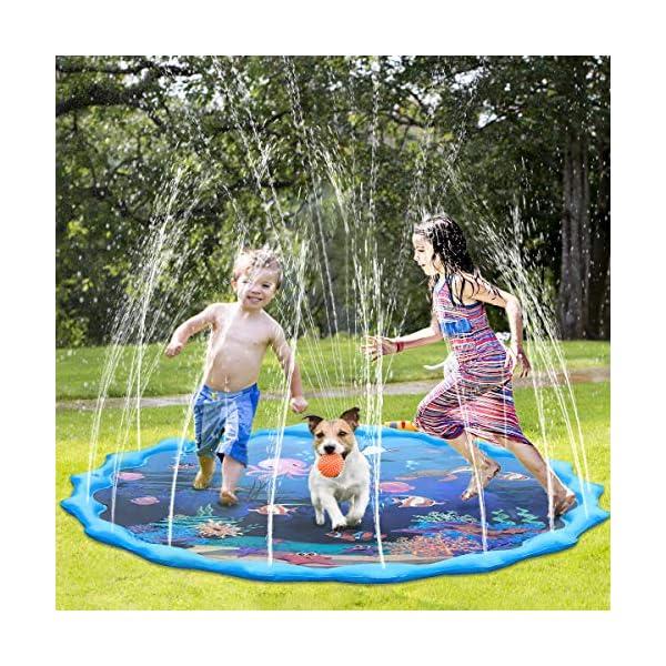 Tappetino Gioco d'Acqua per Bambini,68 Pollici Bambini Giochi d'Acqua Gioco di Spruzzi d'Acqua Tappetino,Gioco da… 1 spesavip