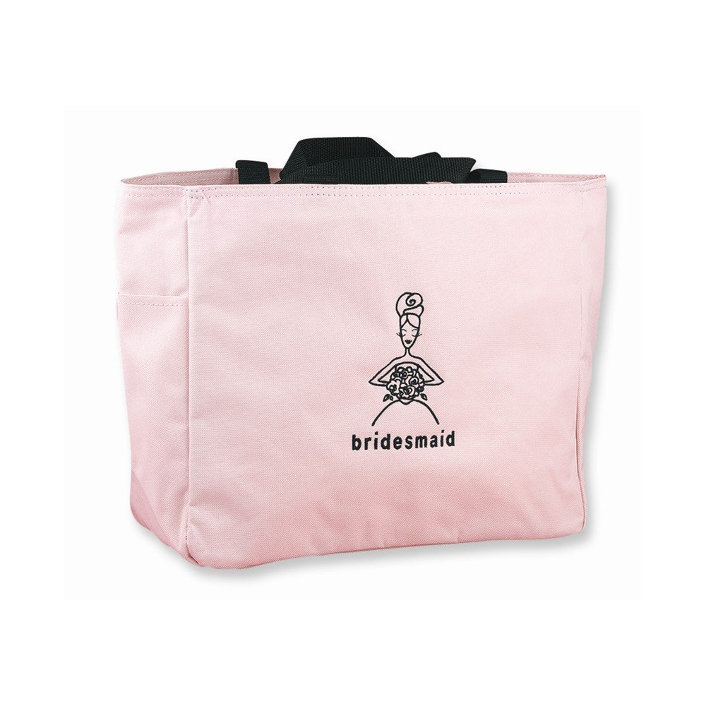 Pink with Black Embroidered Bridesmaid Tote