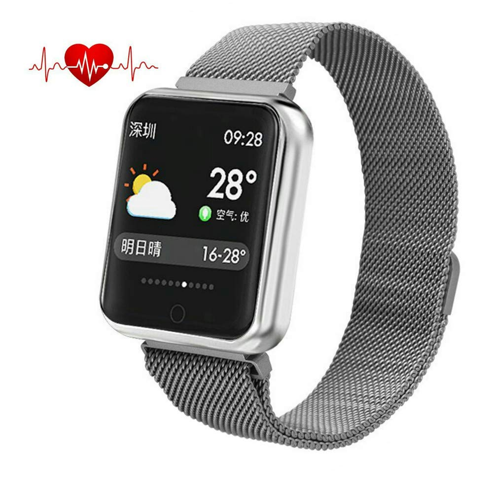 elecfan Reloj Inteligente para Hombres, Ejercicio Fitness Pulsera de Repuesto para Pulsera Deportiva Fitness Smart Watch de Android iOS iPhone Xiaomi,Plata: ...
