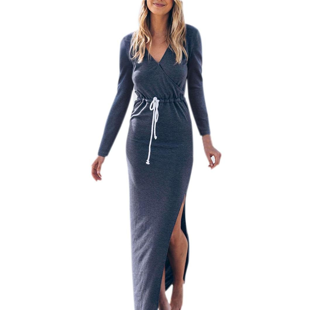 Maxi Dresses, Anxinke Casual Solid Long Sleeve Dress with Drawstring (M)