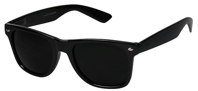 c6eb1c384e Amazon.com  Basik Eyewear - Super Dark Lens Retro Vintage Inspired 80s  Spring Hinge Sunglasses (Glossy Black Frame