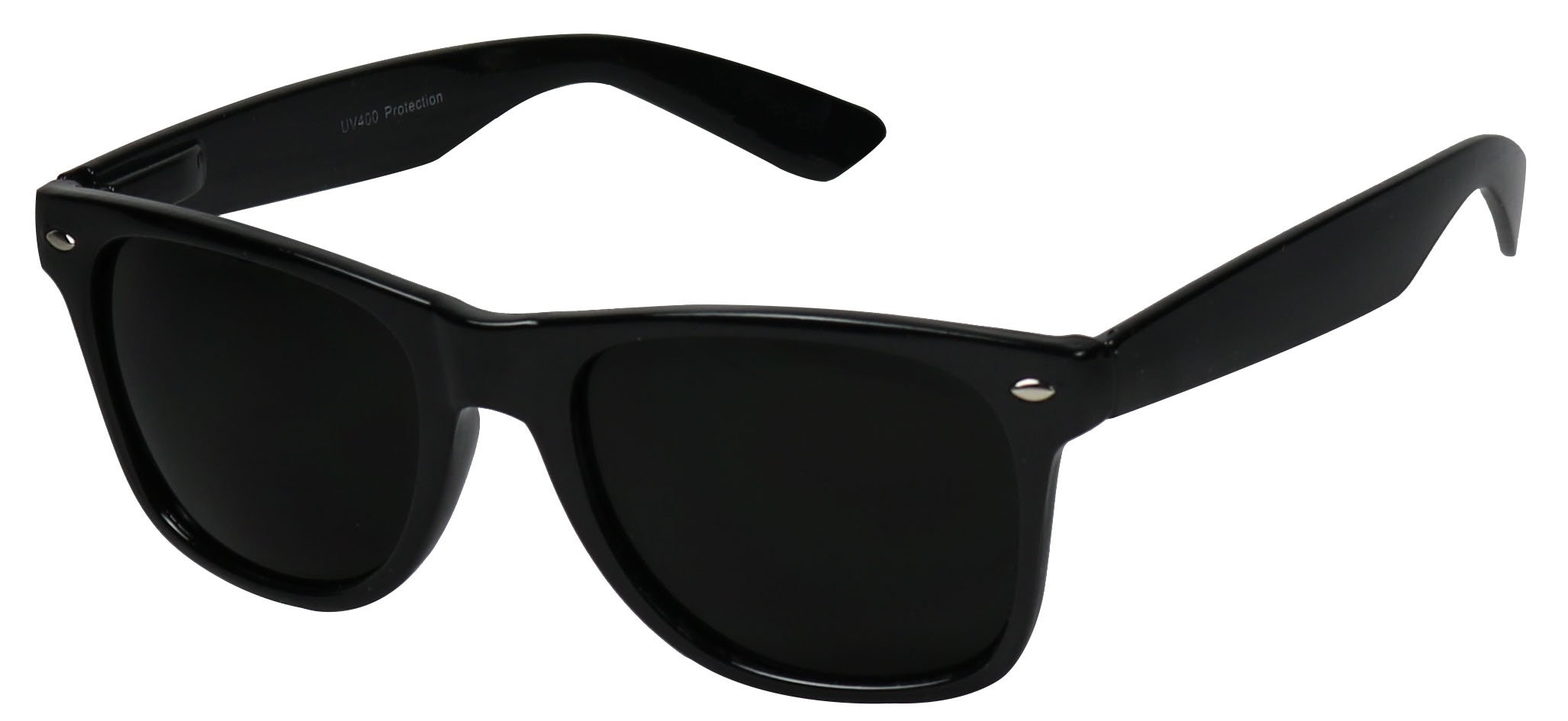 Basik Eyewear - Super Extremely Dark Black Retro Wayfarer 80's Sunglasses 1 or 2 Pairs (Glossy 2 Pack Deal, Dark Black)