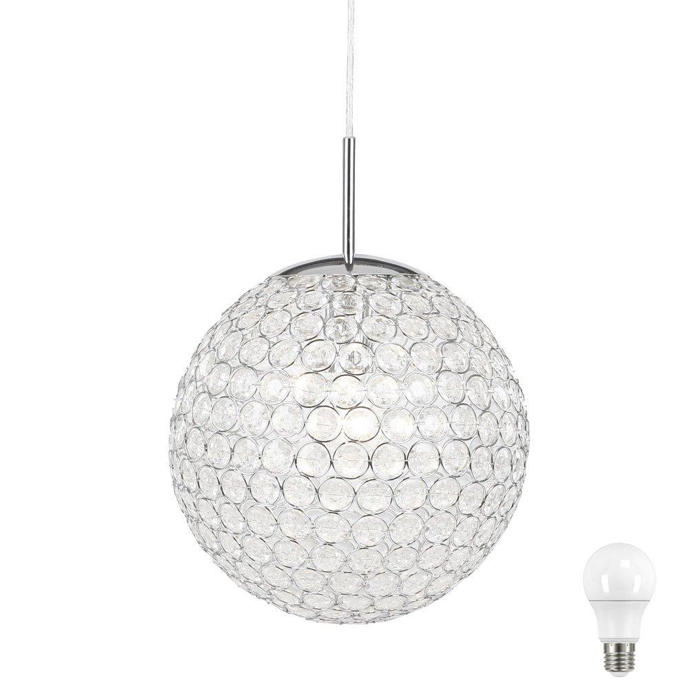10 Watt Hänge Lampe Pendel Kugel Beleuchtung Wohn Zimmer Kristall Leuchte Chrom im Set inkl LED Leuchtmittel