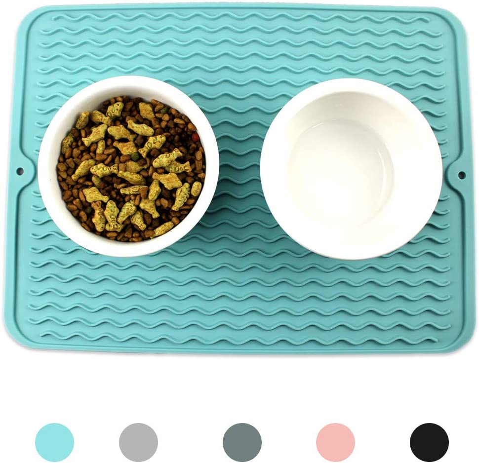 Ptlom Dog and Cat Placemat, Pet Food and Water Mat, Suitable for Large, Medium and Small Pets, Prevent Water and Food from Spilling, Silicone, Light Blue