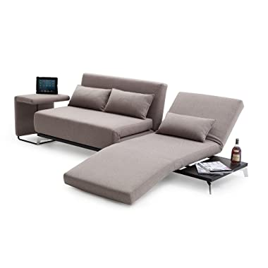 J&M Furniture Premium Sofa Bed End Table JH033 in Biege