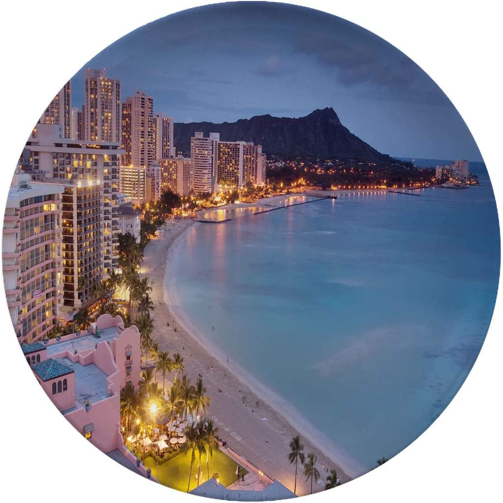 Creative Round Dinner Plates,Waikiki At Dusk,dinner Plates Set Plate For Home And Kitchen,dinner Dishes,10 Inch