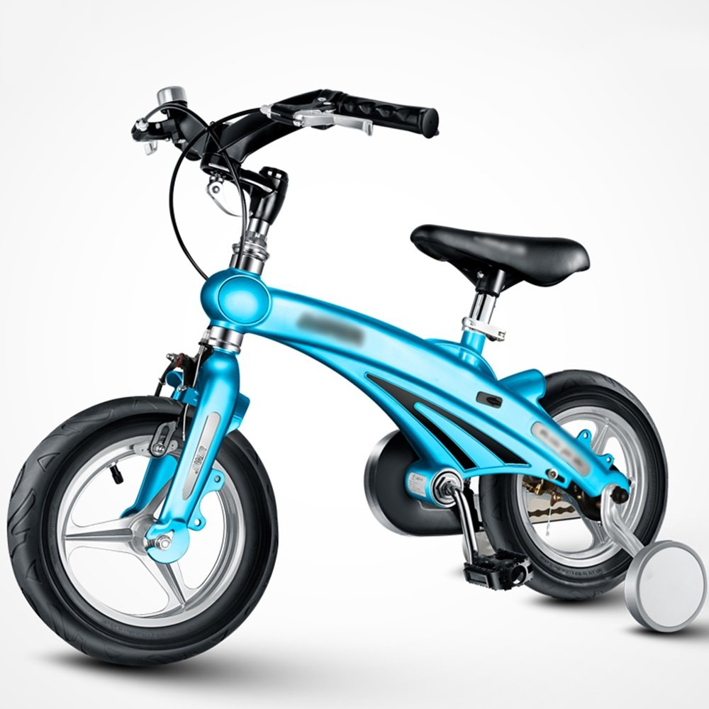 LVZAIXI 子供の自転車3歳6歳のベビーベビーカー12/14/16インチマウンテンバイク自転車折りたたみハンドルバー (色 : 青, サイズ さいず : 12インチ) B07D576TH5 12インチ|青 青 12インチ