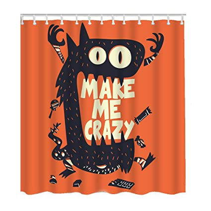 Moslion Halloween Shower Curtain Set Cool Monster Wide Mouth Candy Qord Make Me Crazy Curtains
