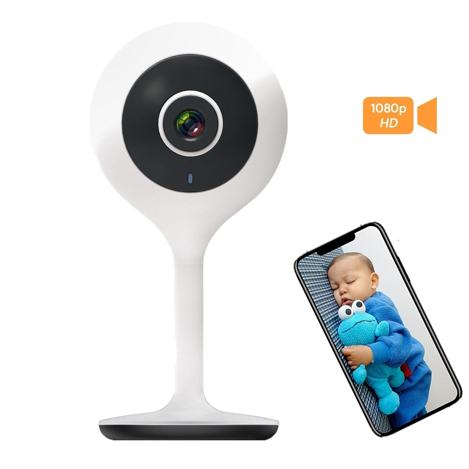 Baby Monitor with Camera, Zeetopin Home Security Camera Wireless 1080P HD Mini with Night Vision Motion Detection, Surveillance System, 2-Way Audio For Baby/Elder / Pet ZS-GQ3S