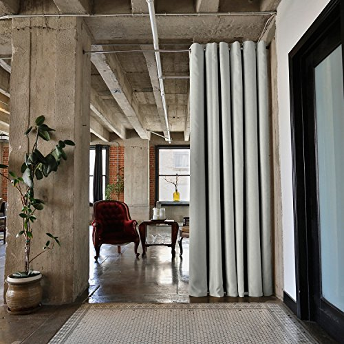 RoomDividersNow Premium Heavyweight Tension Rod Room Divider Kit - Small A, 8ft Tall x 2ft 4in - 4ft Wide (Stone - Tension 2' Rod