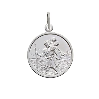 925 Sterling Silver Saint St Christopher Round Pendant Charm Medal & Gift Box Sizes: 10 12 14 16 18 20 22mm High Quality id5RUif7