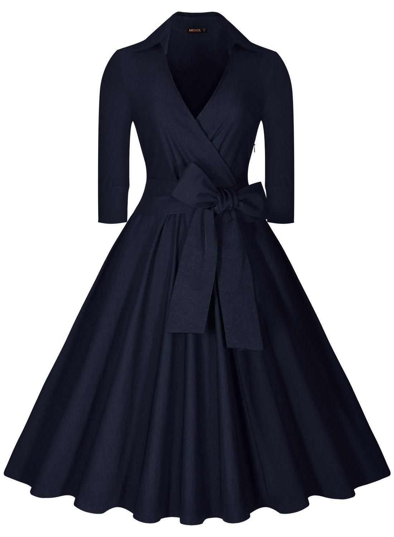 Miusol Women's Deep-V Neck Half Sleeve Bow Belt Vintage Classical Casual Swing Dress (Medium, Navy Blue)
