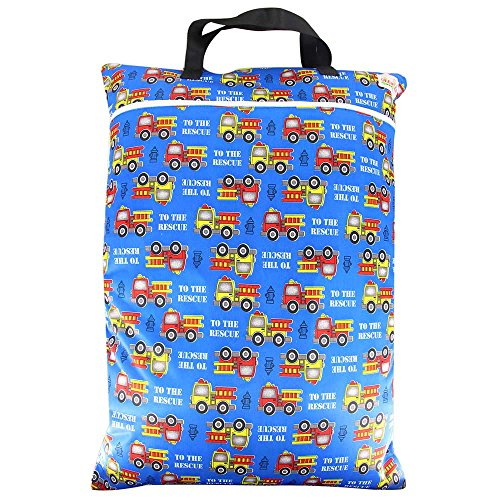 Wet Dry Big/Large Stroller Hanging Pockets Baby Cloth Diaper Nappy Bag - OHBABYKA (one size, blue car)
