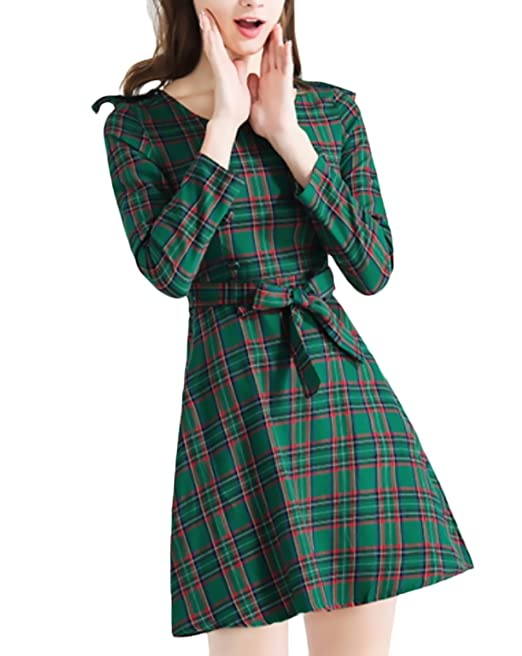 HaiDean Mujer Mini Vestido Vintage Classic A Cuadros Vestidos Manga Larga Cuello Redondo con Modernas Casual