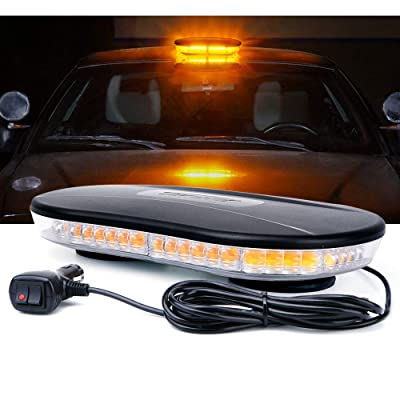 Xprite Amber COB Strobe Lights Bar LED Rooftop Emergency Warning Light with Magnetic Base for Vehicles Cars Trucks 19 Flashing Patterns: Automotive