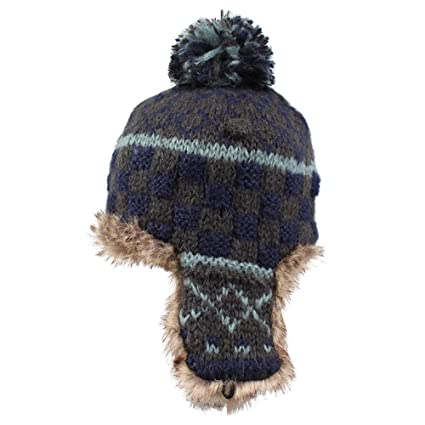 25439fd4 Kenmont Women Winter Cute Faux Fur Thicken Acrylic Knit Earflap Hat Beanie  Cap (Navy Blue) at Amazon Women's Clothing store: