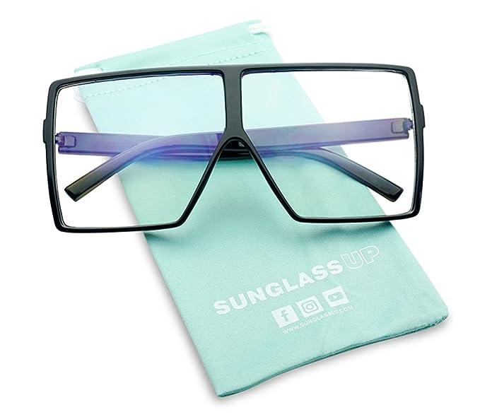 ef08cd4718 SunglassUP Oversized XL Bold Square Clear Eyewear Sun Glasses (Black Frame