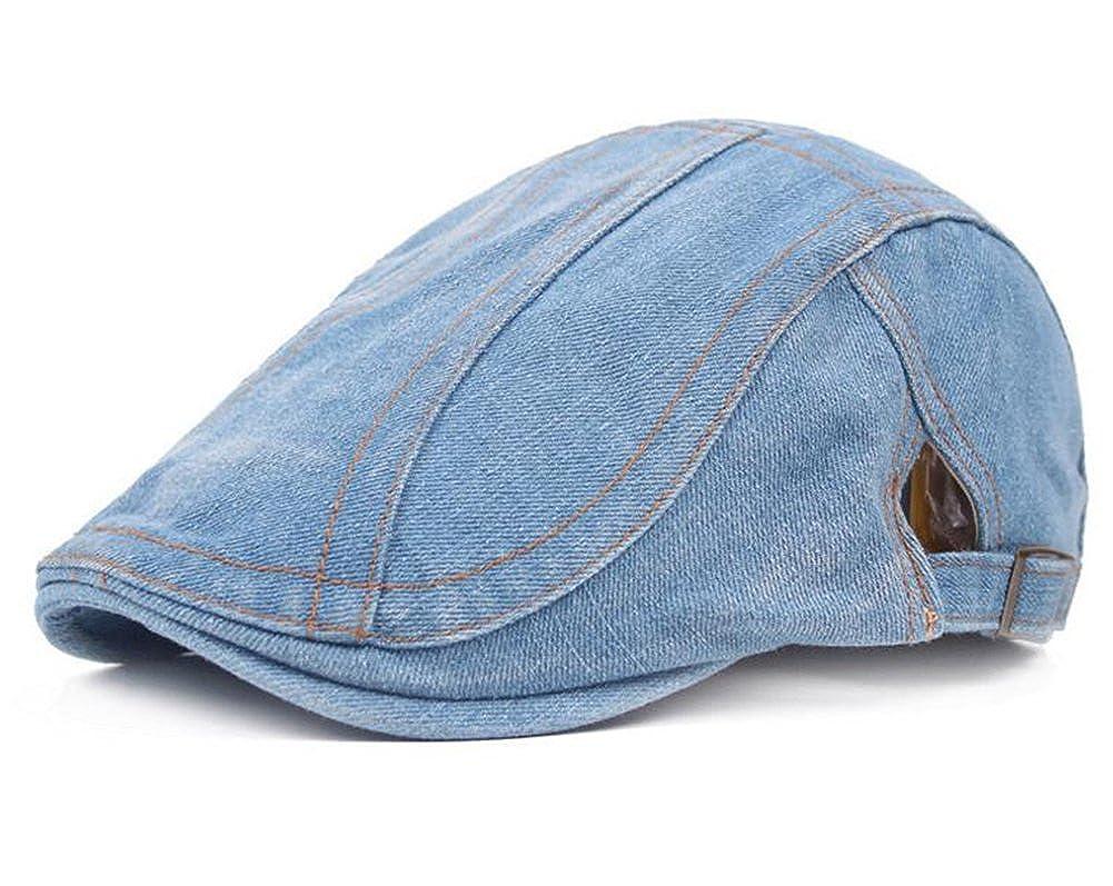 Cdet 1X Mens Flat Cap Denim Cloth Vintage Cabbie Driving Beret Cap Duckbill Hat Adjustable Warm Peaked Hat