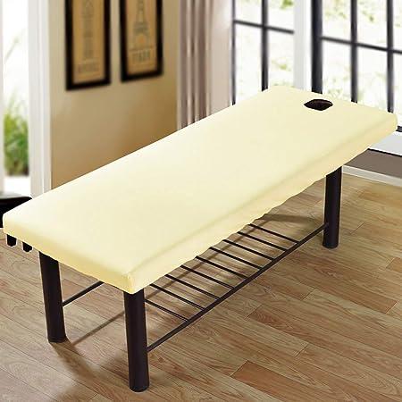 con foro per il viso colore beige Copridivano per lettino da massaggio in policotone elasticizzato