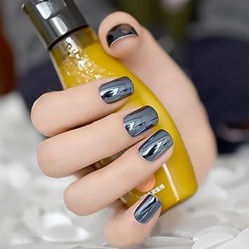 EchiQ - Espejo reflectante azul gris metal chapado falsas uñas postizas azul marino acrílico metálico cuadrado uñas arte consejos: Amazon.es: Belleza