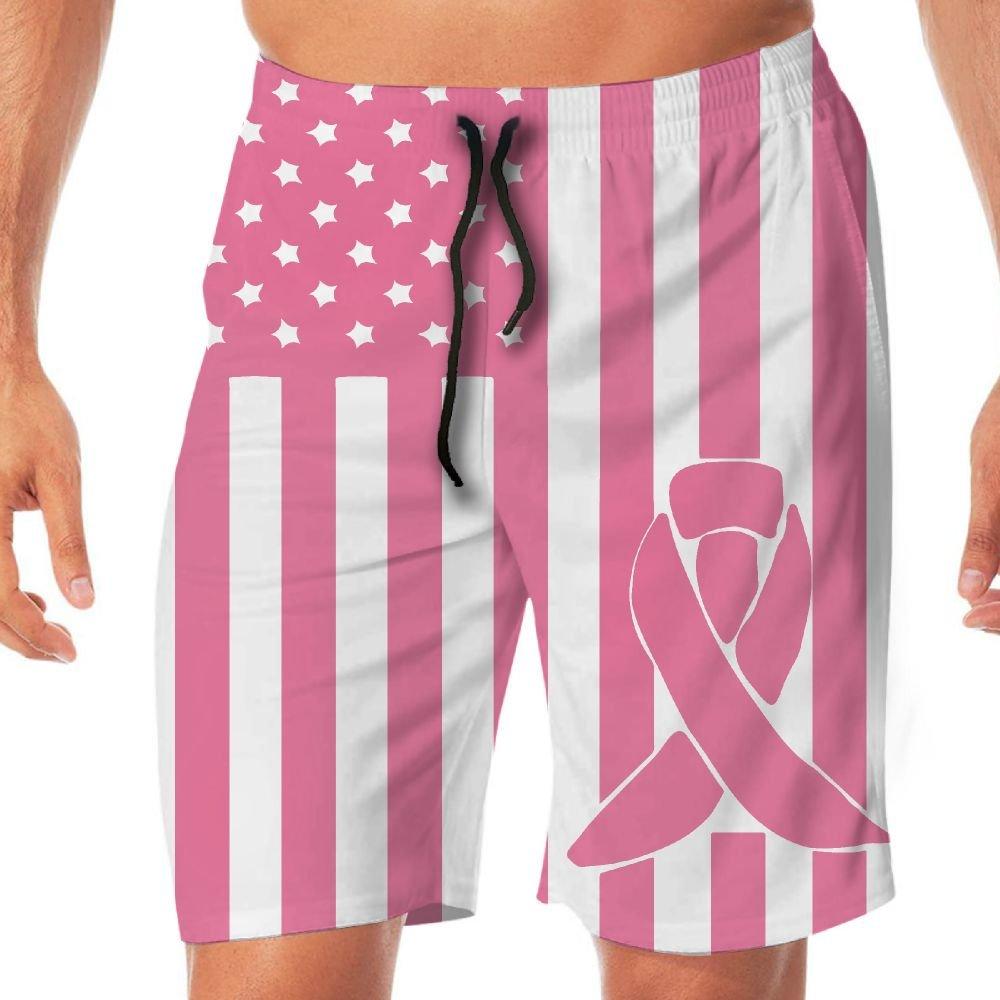 STDKNSK9 Mens Breast Cancer Awareness Flag Board Shorts Beach Pants