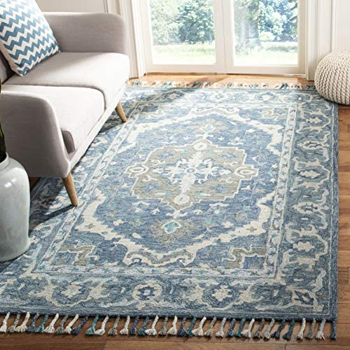 Safavieh Aspen Collection APN230A Dark Blue and Grey Premium Wool Area Rug 8' x 10'