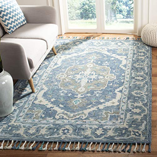 Safavieh Aspen Collection APN230A Dark Blue and Grey Premium Wool Area Rug 8 x 10