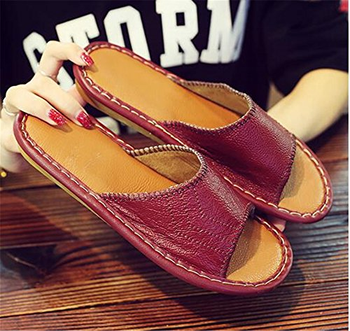 Anti Wooden Women Summer Men Cowhide Rouge Leather Slippers Floor Spring for Smelly TELLW Corium Vin W Autumn 8gwYnHq