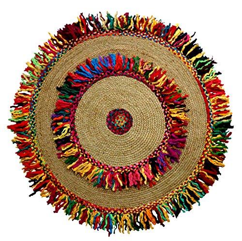 Cotton Craft - Hand Woven Reversible Jute & Cotton Multi Shags Braid Rug - 4 Feet Round
