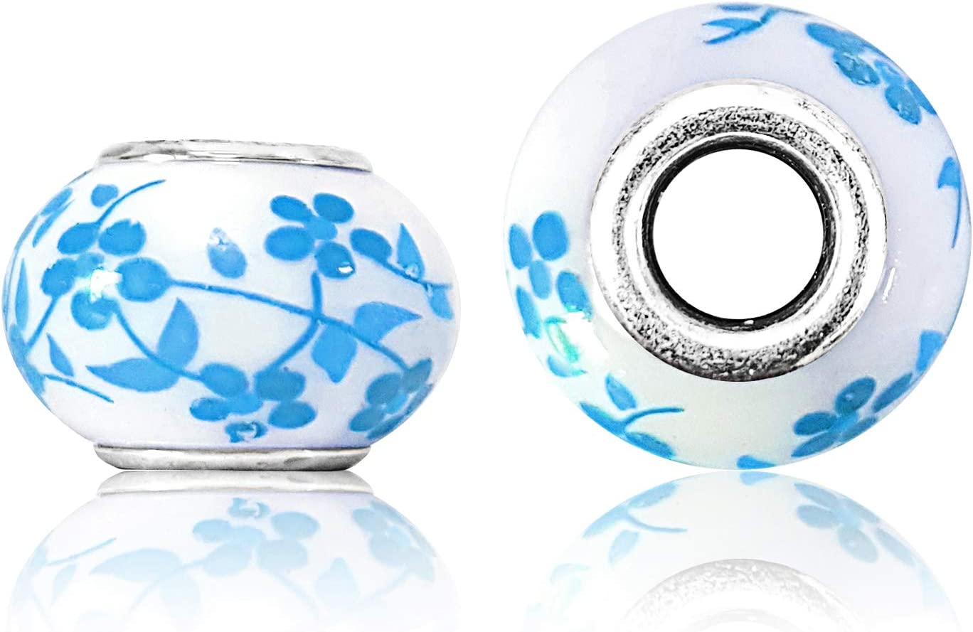 Ganzoo - Juego de perlas, diseño de flores, perlas ornamentales, cuentas, ideal para pulseras Paracord 550, collar o cuerda (turquesa, 10 unidades)