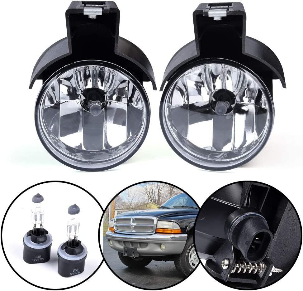Front Bumper Fog Light Assembly Replacement For Dodge Dakota Pickup Truck 1997-2000 Durango SUV 1998-2000 Clear Lens Driving Fog Lamps Replacement Driver /& Passenger Side Pair 55076793 55076792