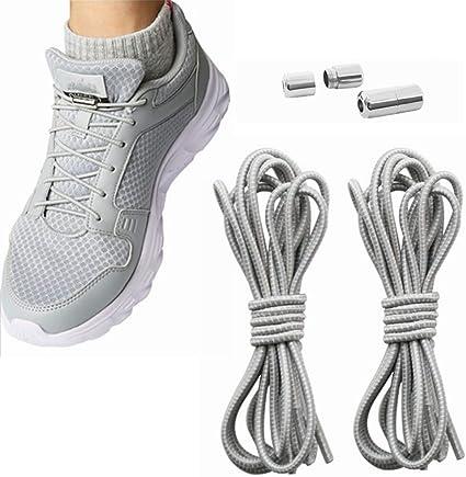 Kiwochy 2 pares de cordones elásticos para zapatos sin atar cordones de zapatos ajustables para zapatillas deportivas botas y zapatos casuales son adecuados para adultos y niños de 40,55