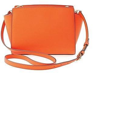 2ffc033a642787 Michael Kors Cross-body Handbag Selma Clementine MD Messenger Leather orange