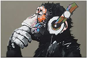 """Canvas Wall Art Animals Animal Music Gorilla Canvas Printed Painting Modern Funny Thinking Monkey with Headphone Wall Art for Living Room Decor Ready to Hang 1 Panel 12"""" x 16"""""""