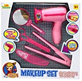 Little Treasures Fashion Hair Styling Pretend Play Pink Beauty Salon Set - Hours of Fun for Little Girls Who Enjoy Role Playing - Includes a Hairdryer a Curling Iron Mirror Hair Scissors & Comb