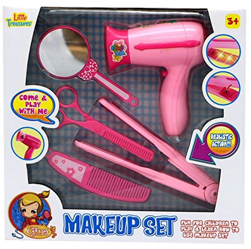 Little Treasures Fashion Hair Styling Pretend Play Pink Beauty Salon Set - Hours of Fun for Little Girls Who Enjoy Role Playing - Includes a Hairdryer a curling Iron mirror hair Scissors & Comb - Hair Treasure Box