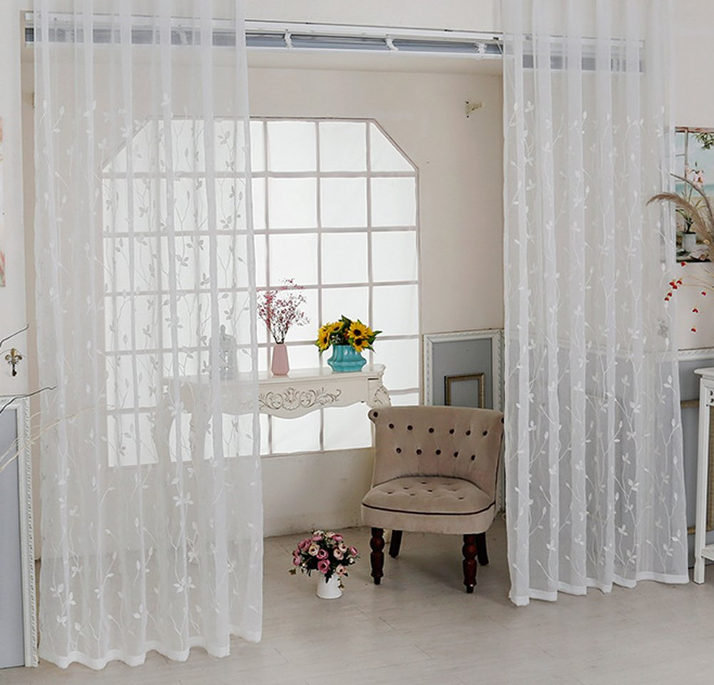 ASide BSide Countryside Style Leave Pattern Towel Embroidered Sheer Curtains Rod Pockets Home Decorations For Living Room Dining Room and Kids Room (1 Panel, W 52 x L 95 inch, White)