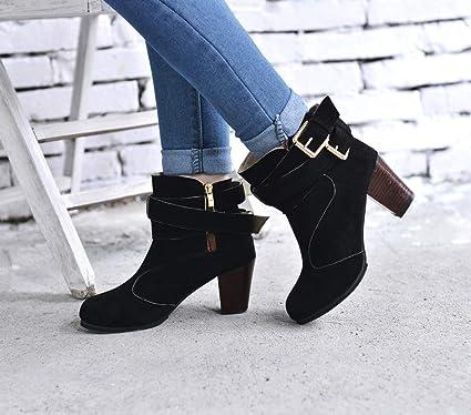 JiaMeng Zapatos por ESAILQ Mujeres de Cuña Baja Hebilla Biker Tobillo Trim Botines Planos Belt Buckle Ladies Faux Boots Botines Tacones Altos Zapatos: ...
