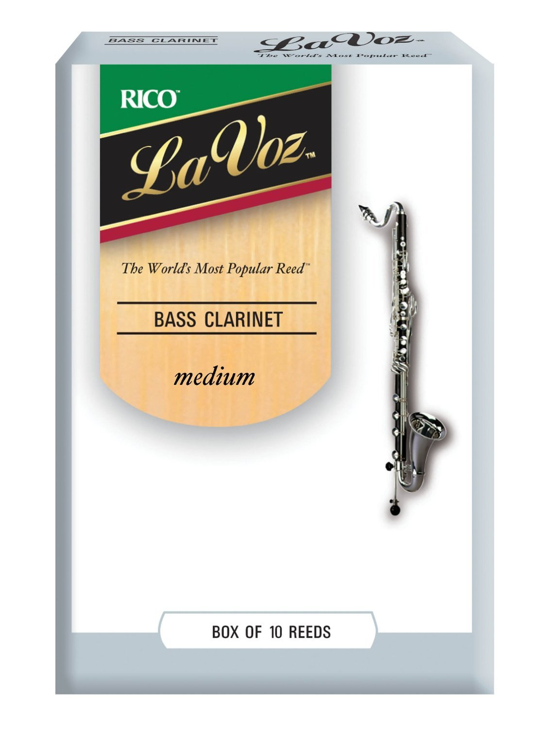 La Voz Bass Clarinet Reeds, Strength Medium, 10-pack