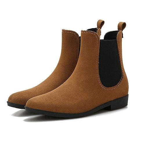 Botines para Mujer Primavera Invierno Banda elástica Color sólido Caucho Impermeable Plano Bootie: Amazon.es: Zapatos y complementos