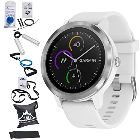 Garmin 010-01769-21 Vivoactive 3 GPS Fitness Smartwatch White Stainless 7 Pieces Fitness Kit